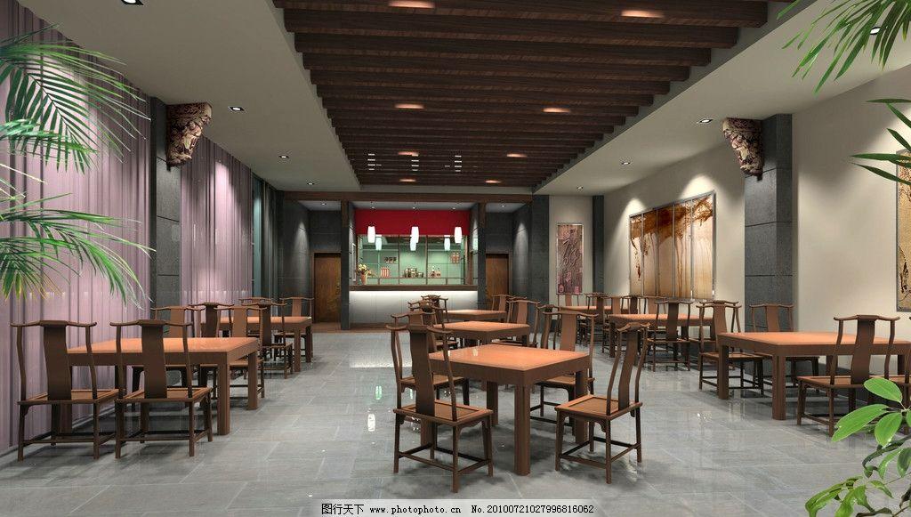 仿古餐厅效果图 仿古 餐厅 木吊顶 石材柱 画仿 古桌 室内外装修效果