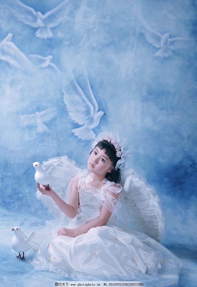 可爱宝宝 小天使 头花 蕾丝 公主裙 天使翅膀 玩具 白鸽 小女孩 背景