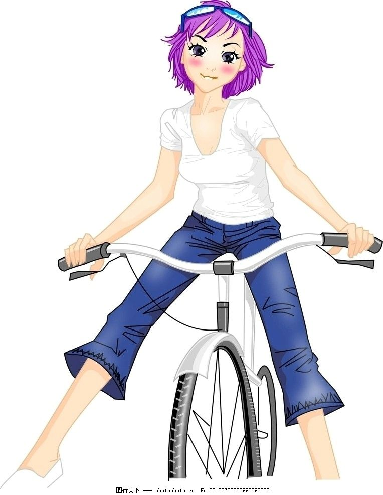 卡通女孩 紫色头发 白衣服 蓝裤子 银单车 羞涩的表情 其他人物