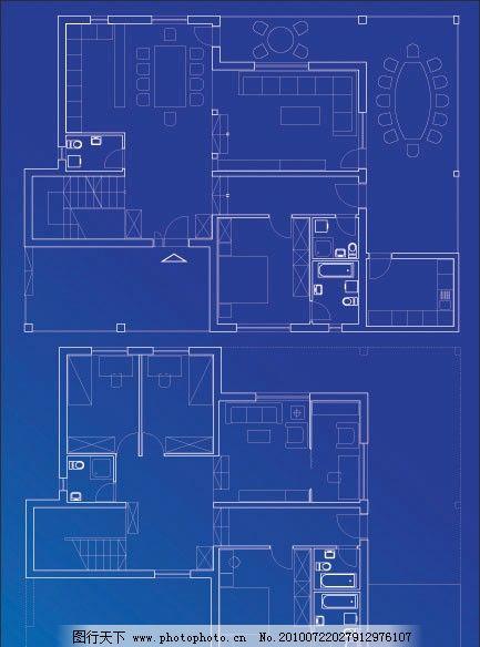 室内平面设计图矢量素材 图纸 平面图 工程图 格局 装修 房子