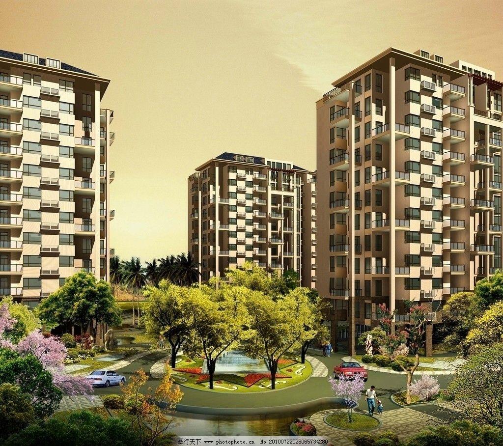 楼盘设计图 建筑设计 住宅楼 楼房 高楼 草地 树林 绿化 树木 景观
