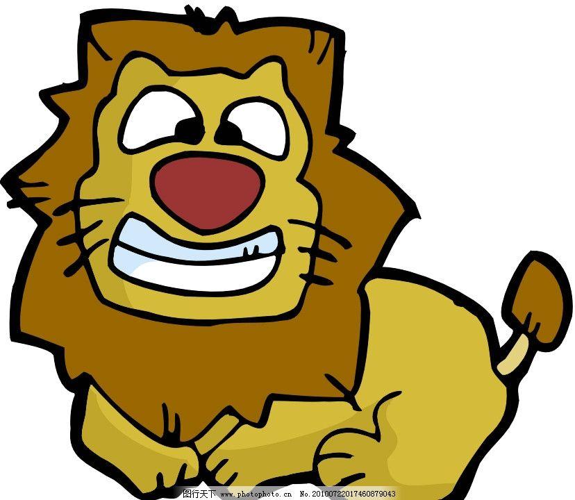 狮子 可爱 卡通 漫画 矢量素材