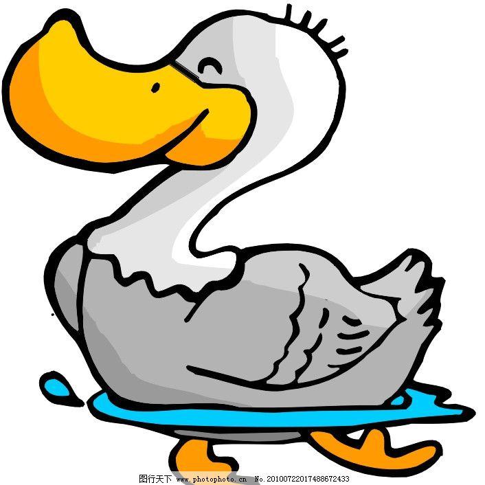 鸭子 可爱 卡通 漫画 矢量素材 可爱卡通动物 其他生物 生物世界