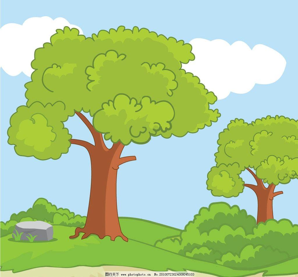 可爱卡通场景 绿色 树木