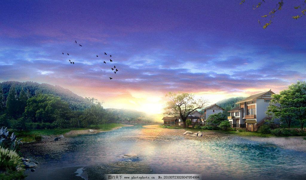 房屋 楼梯 森林 小鸟 夕阳 河流 建筑设计 环境设计 设计 300dpi jpg