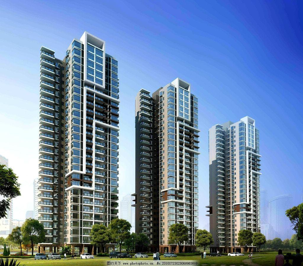 楼盘设计图 建筑设计 楼盘 楼宇 住宅楼 商业楼 高层建筑 道路 绿化