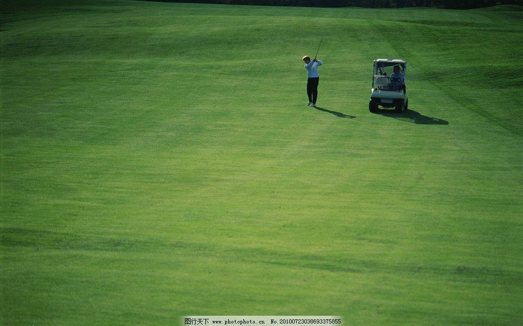 运动寓意 草地 高尔夫球 挥杆 外国 男人 高尔夫运动车 体育运动 文化