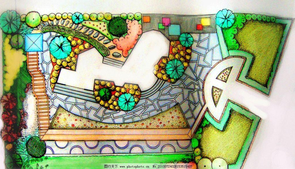 园林手绘平面图 学校空地设计