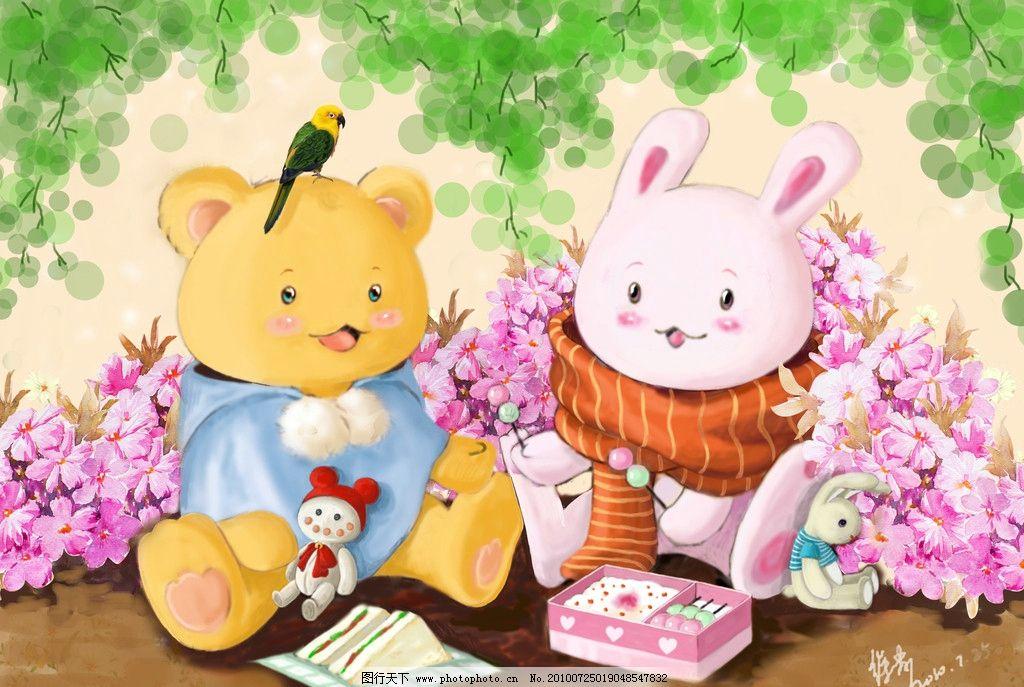 可爱的小兔子绘画作品