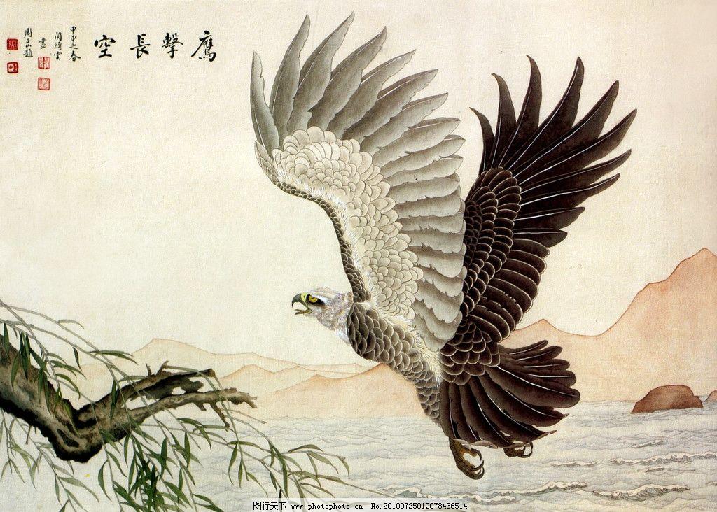 鹰击长空 画 中国画 水墨画 动物画 现代国画 雄鹰 飞翔 展翅