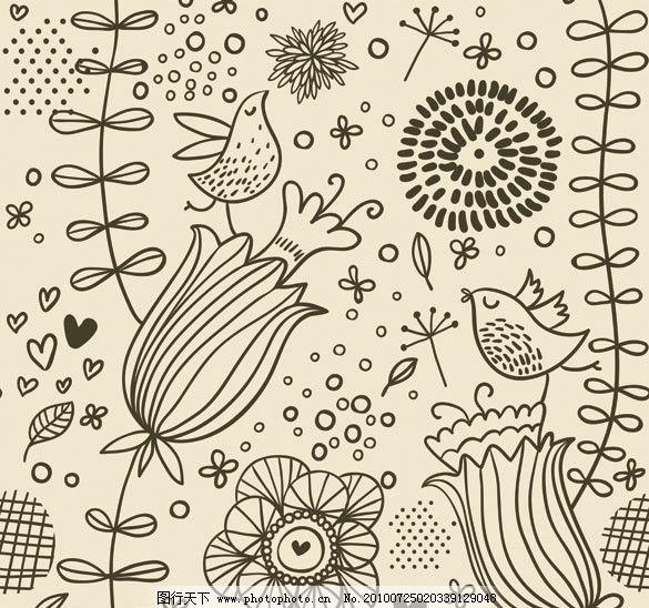 手绘风格花纹背景 花边 底纹 古典 传统 花朵 小鸟 桃心 可爱