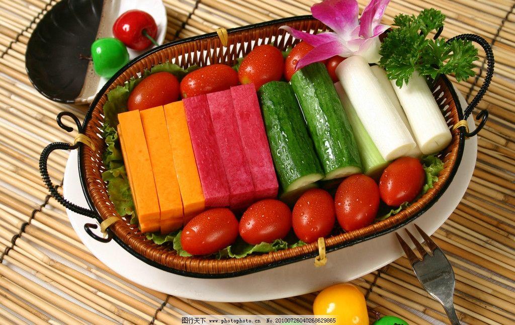 大丰收 餐饮美食 蔬菜拼盘 一筐蔬菜 黄瓜 胡萝卜 西红柿 圣女果 大葱图片