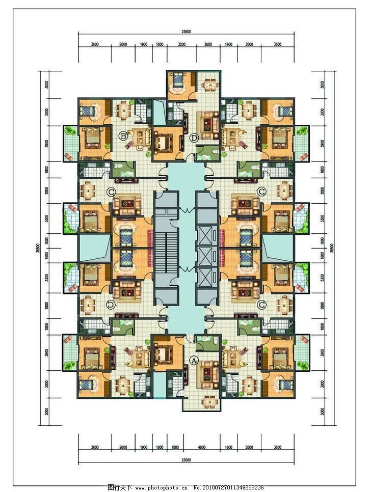 一梯八户标准层户型平面图图片_室内设计_装饰素材_图
