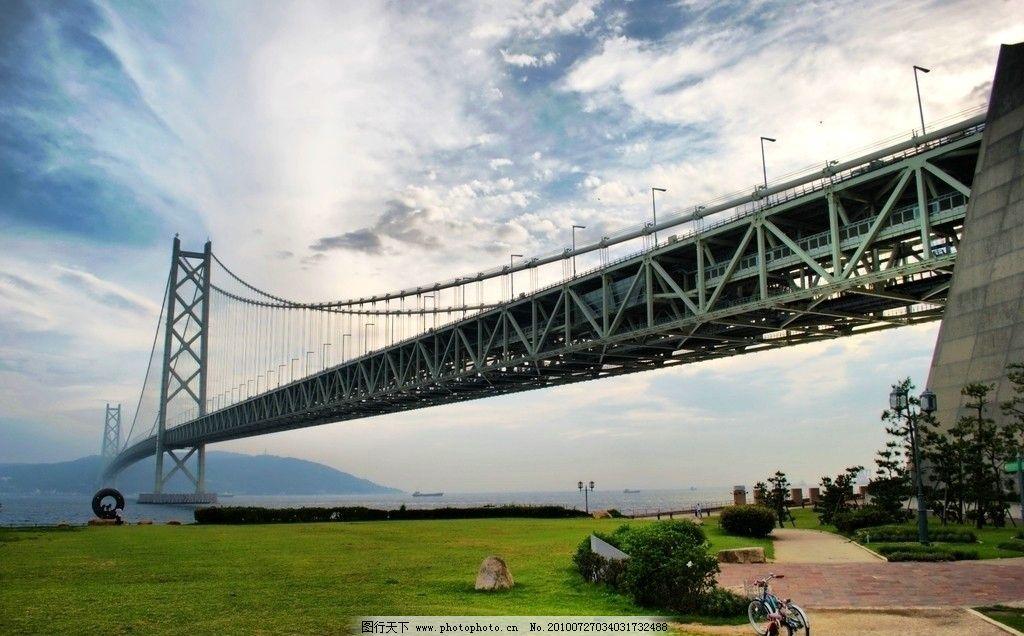 日本 四国 明石海峡大桥 明石海峡 海峡大桥 钢结构悬索桥 桥架 桥身