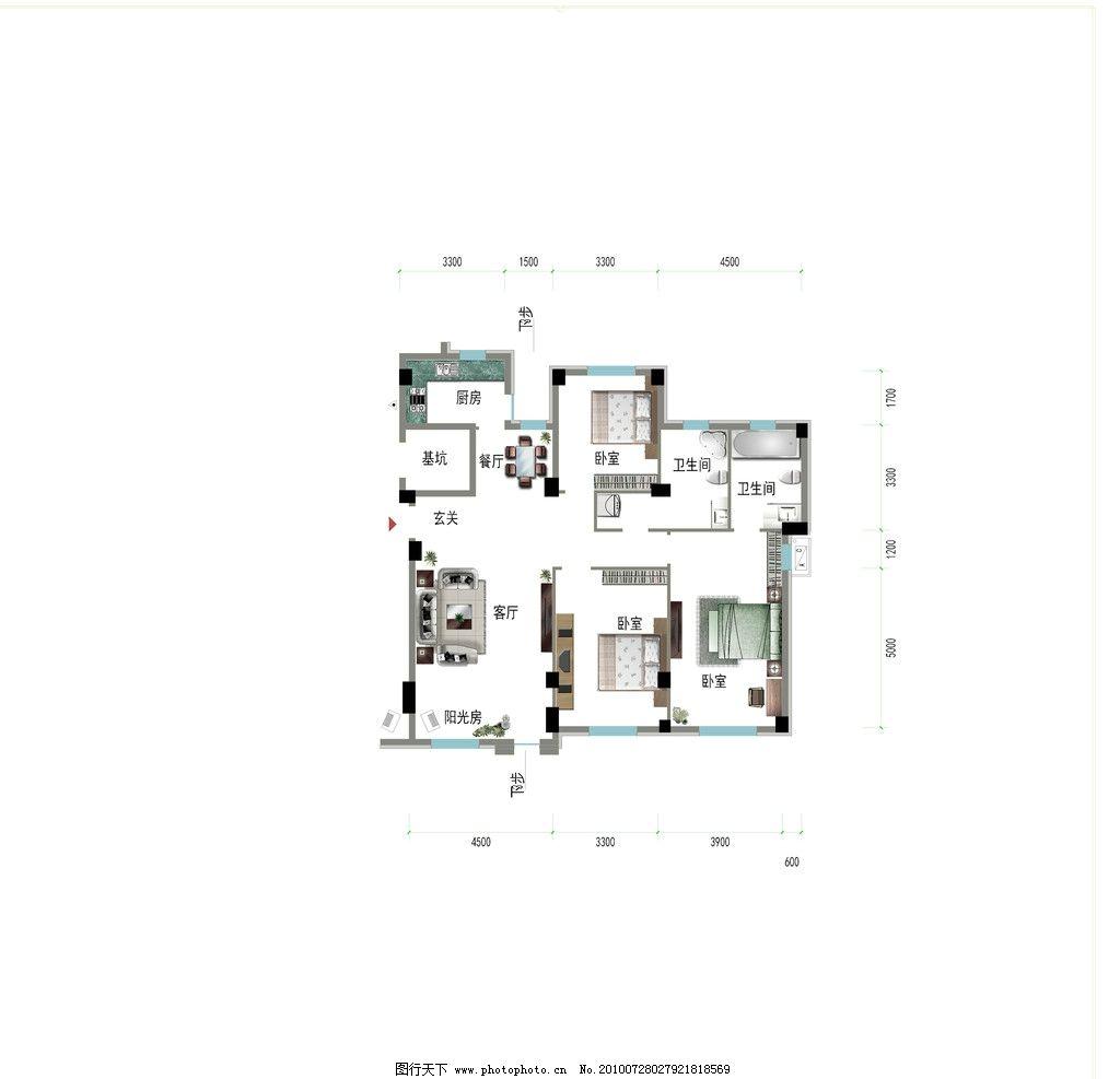 室内户型图 户型图 平面图 室内装修 家具 家具素材 床 衣柜 电脑桌