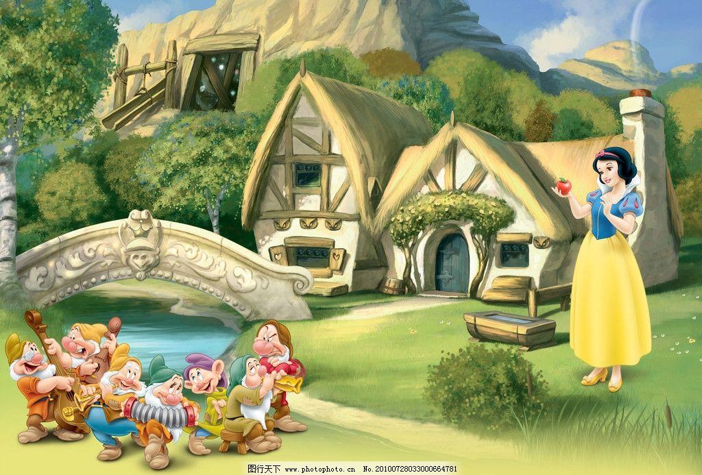 森林里的白雪公主 森林 白雪公主 七个小矮人 桥和房子 psd分层素材