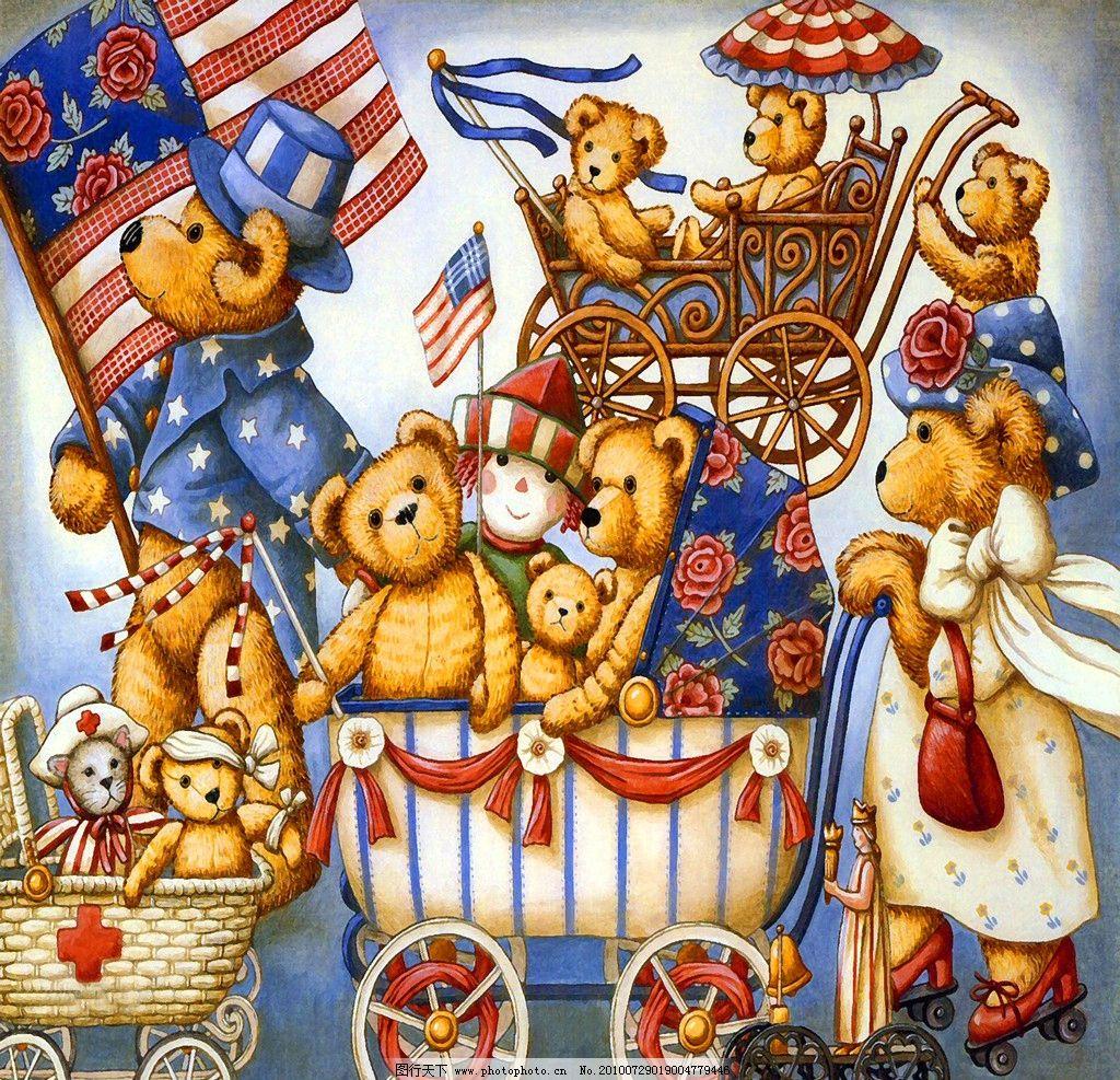 卡通油画 泰迪熊图片