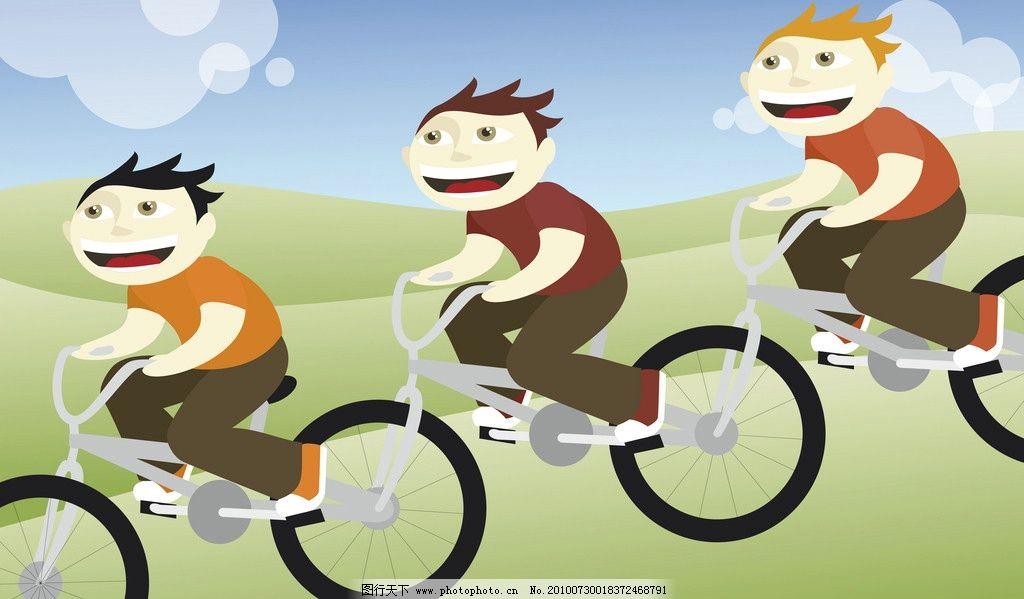 骑单车卡通青年图片