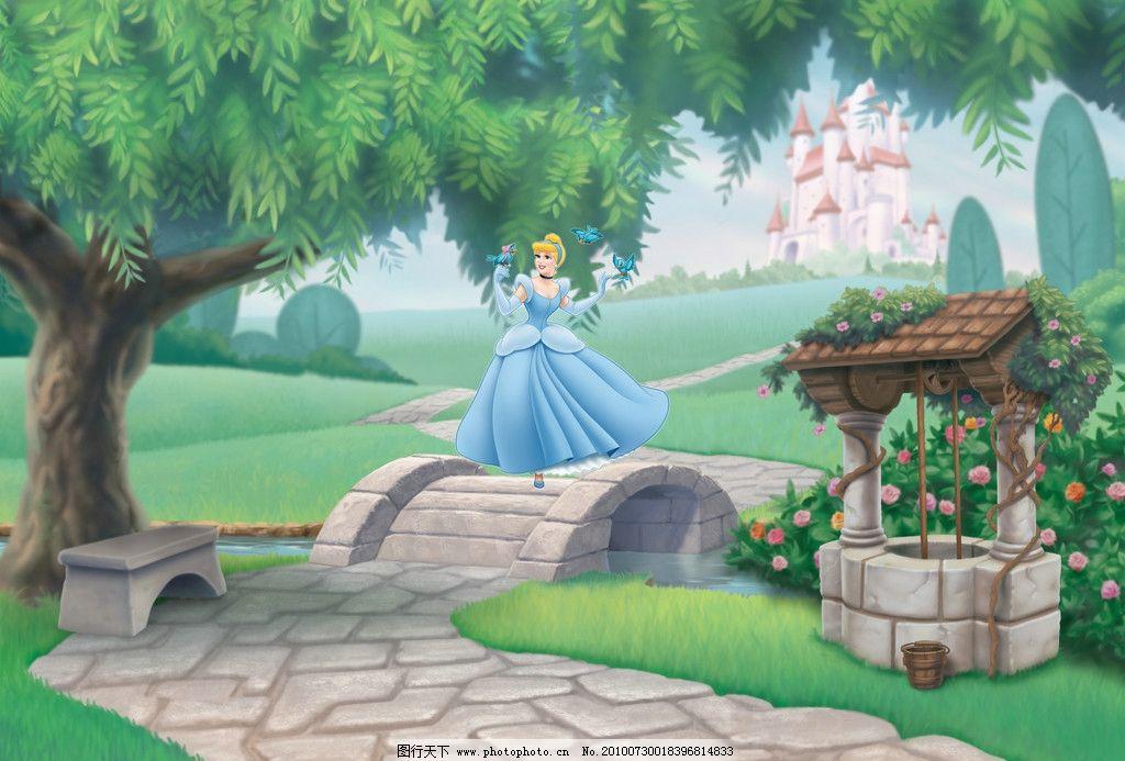 白雪公主 卡通背景 森林 大树 公主 城堡 草地 道路 动漫人物 动漫