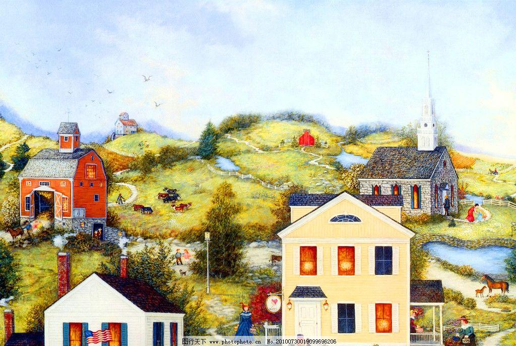 文化艺术 绘画书法  油画 山坡上的房屋 装饰画 无框画 手绘 风景画