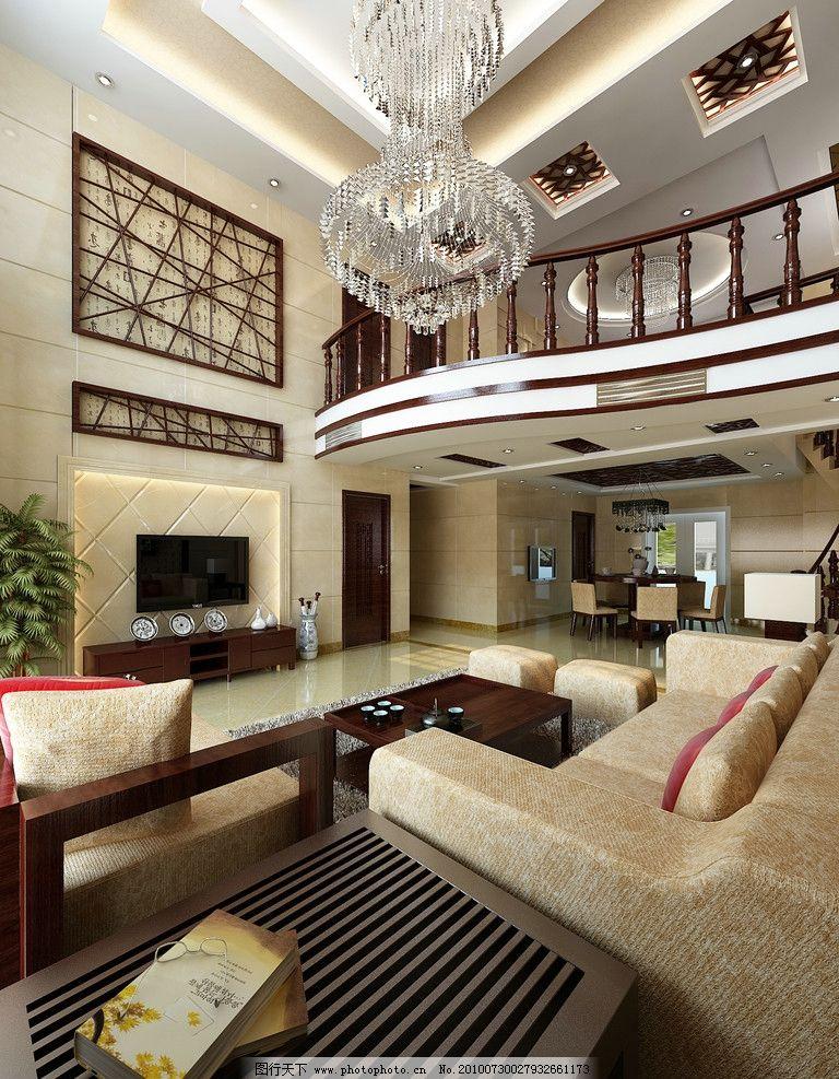 中式别墅客厅 中式 跃层 挑空客厅 简中沙发 花格背景 简约中式 客厅