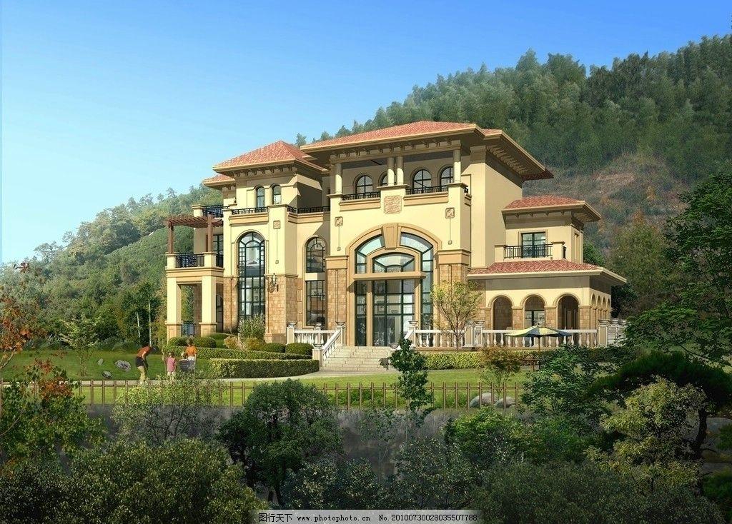 别墅效果图 景观 建筑 效果图 别墅 山上 绿色 环境 园林 大图 欧式