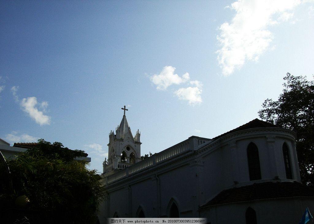 厦门 厦门教堂 十字架 教堂 欧式建筑 宗教 基督教 耶稣 钟楼 欧式 古典建筑 竹子 建筑摄影 园林建筑 建筑园林 摄影 72DPI JPG