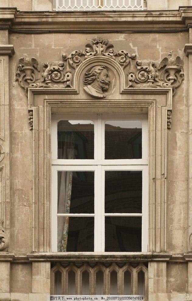 欧式窗 窗户 边框 雕刻 花雕 阳台 窗台 摄影 高清 窗帘 浮雕