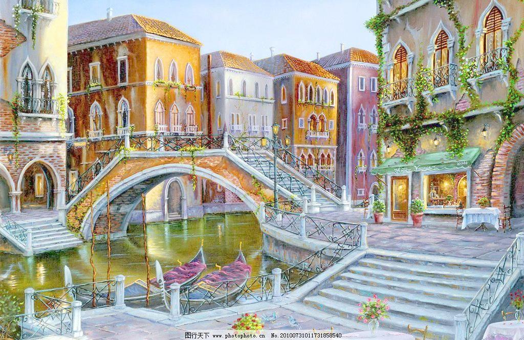 油画 威尼斯的桥图片_山水风景画_装饰素材_图行天下
