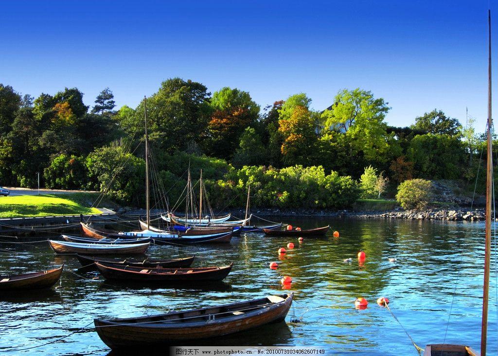 海与船 大海 蓝色大海 蓝天 白云 绿树 草坪 挪威 绿草 国外旅游