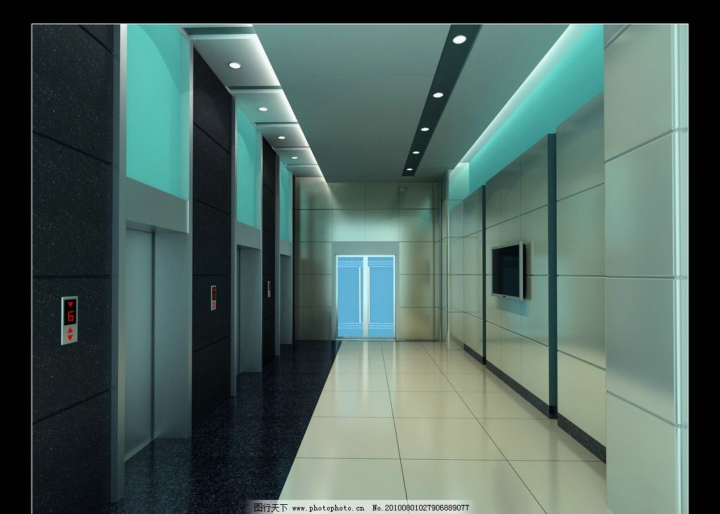 医院电梯厅效果图 清新淡雅 室内设计 环境设计 设计 72dpi jpg