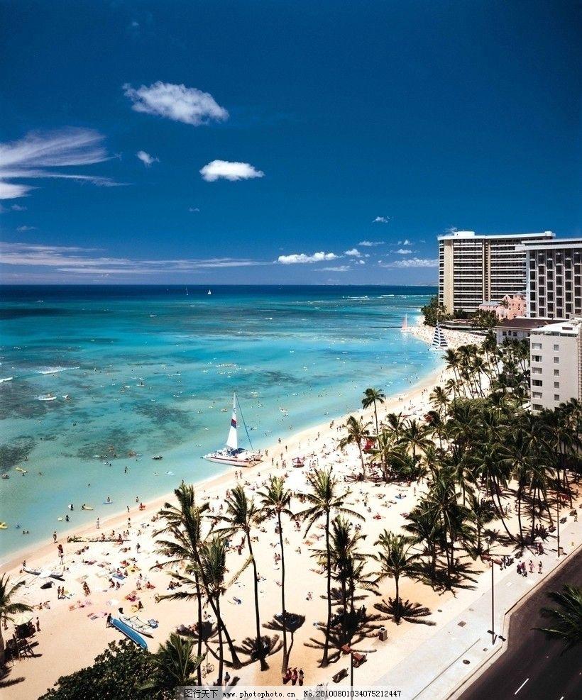 海滨城市 楼房 大海 海滩 椰子树 天空 白云 国外旅游 摄影