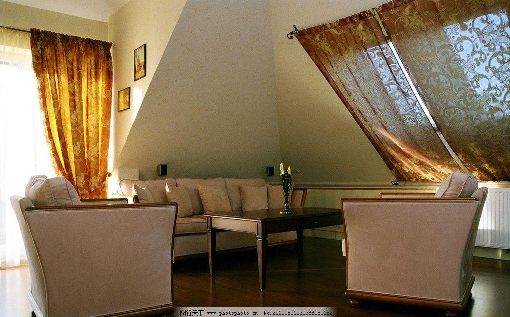 室内设计效果图 欧式 阁楼 窗帘 卧室设计 装修图片 高清图片