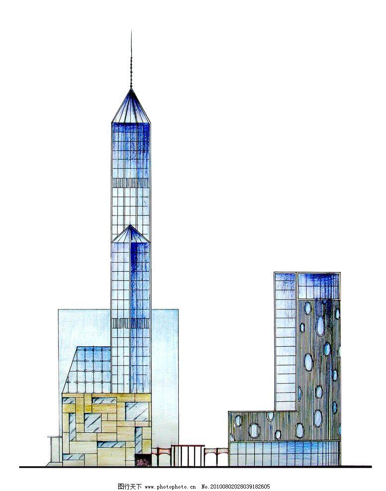 建筑立面手绘效果图图片