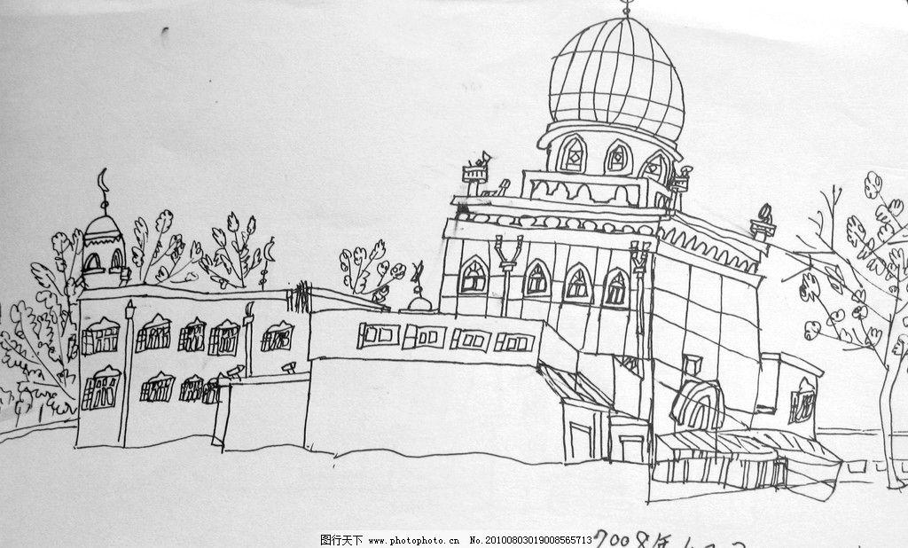 线描 黑白 儿童手绘线描图