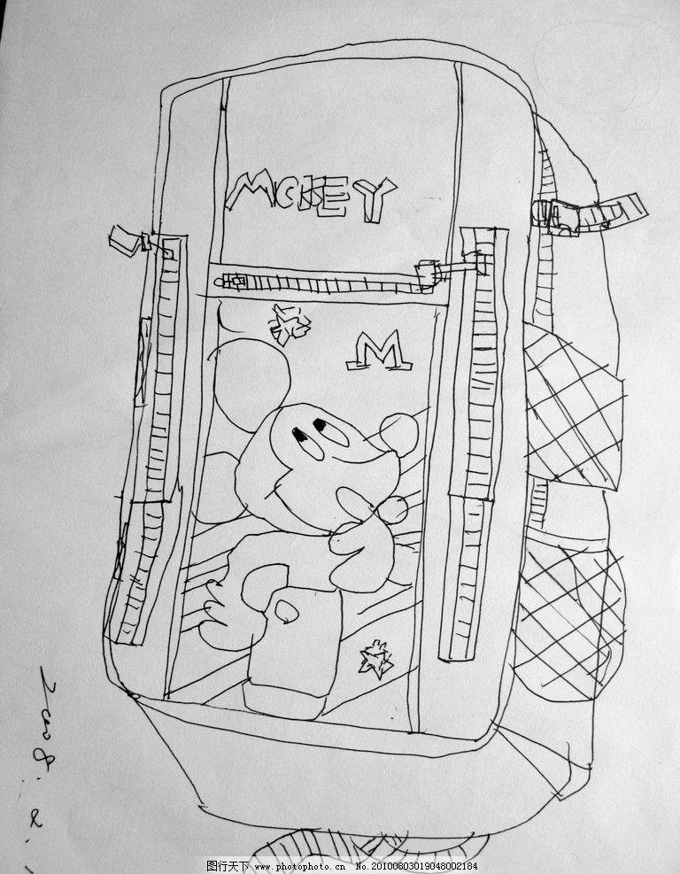 线描米奇背包漫画图片
