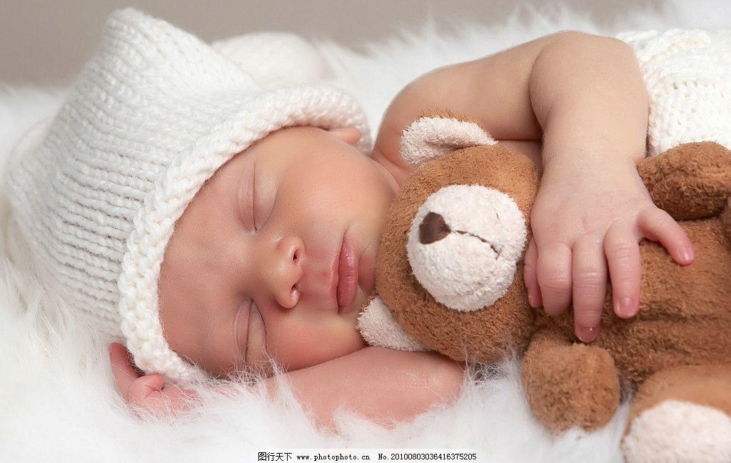 可爱宝宝图片,婴儿 儿童 宝贝 幼儿 睡觉 玩具 小熊
