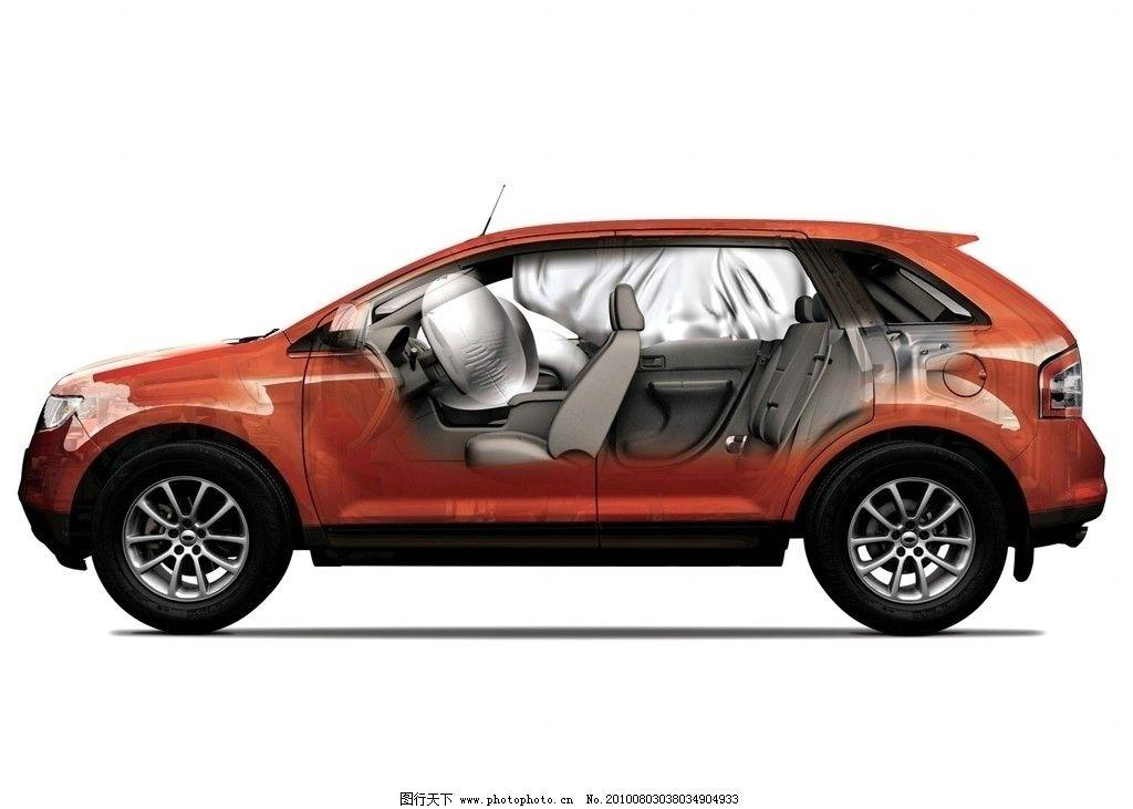福特锐界汽车 红色款 剖面 侧面 内部结构 轿车 摄影