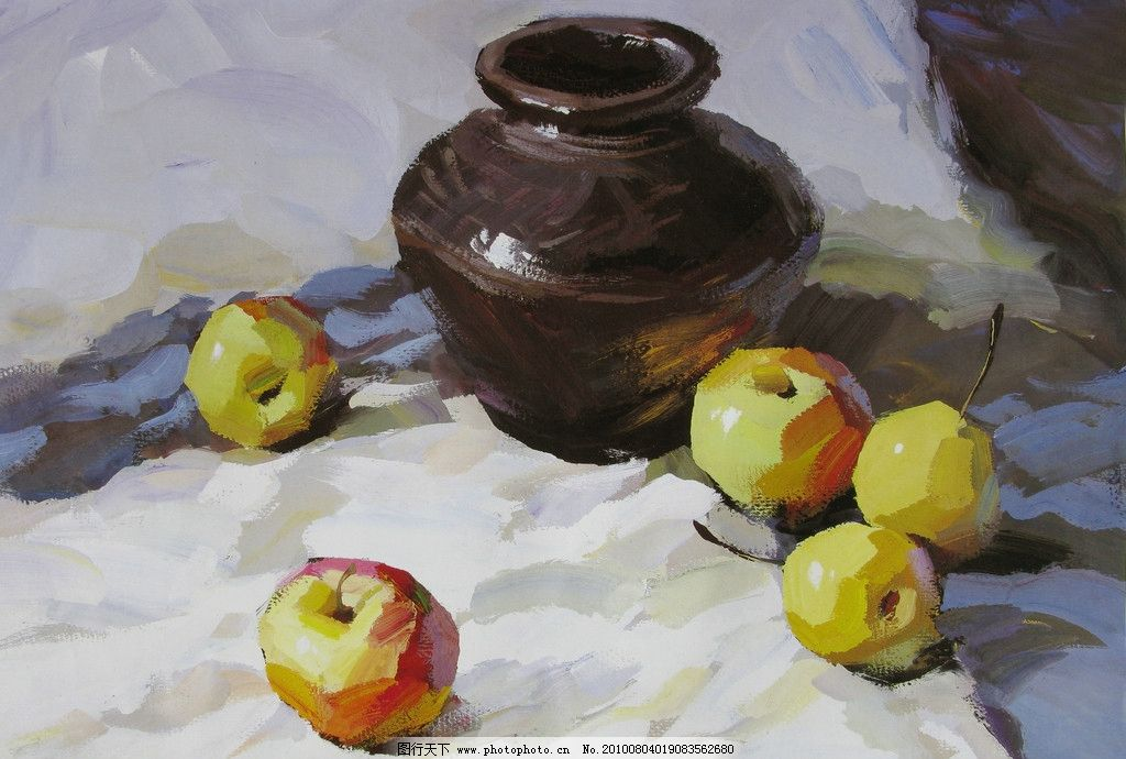 色彩画 美术 苹果 陶瓷 绘画书法 文化艺术