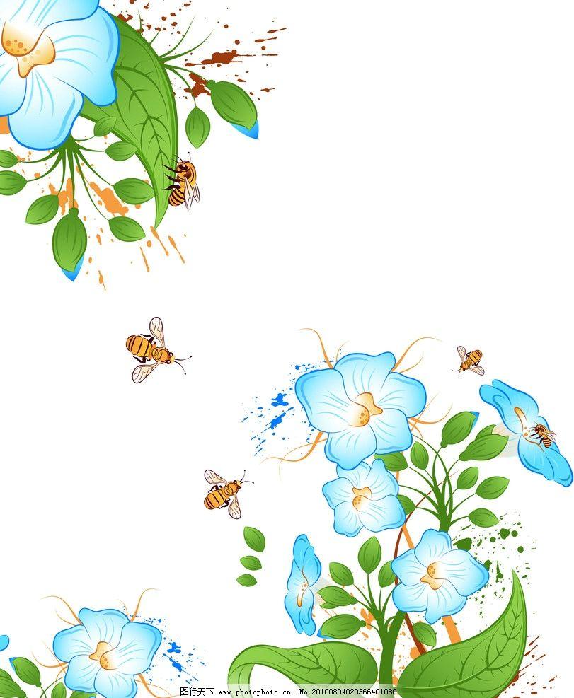 小蜜蜂 花 蓝色花 蓝花 蜜蜂 蝴蝶 采蜜 移门 花纹 绿叶 卡通花 韩国