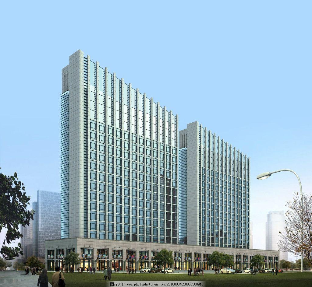 商务中心效果图 商务中心 写字楼 夜景 高层 建筑设计 环境设计 设计