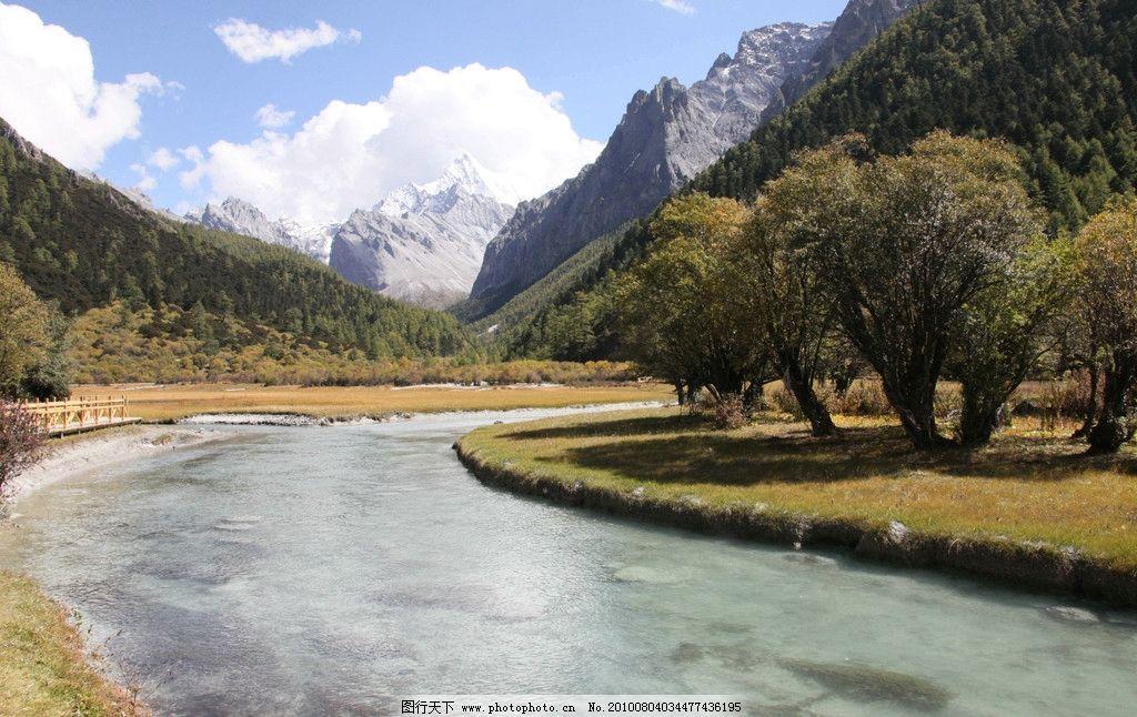 风景 分光 天空 蓝天 白云 河流 树木 草地 雪山 冬天 高山 冰河 大树