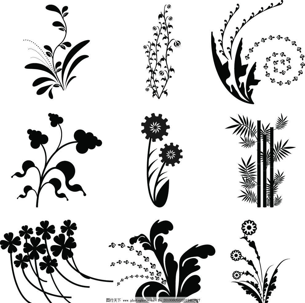 黑白植物花纹图片_花边花纹_底纹边框_图行天下图库