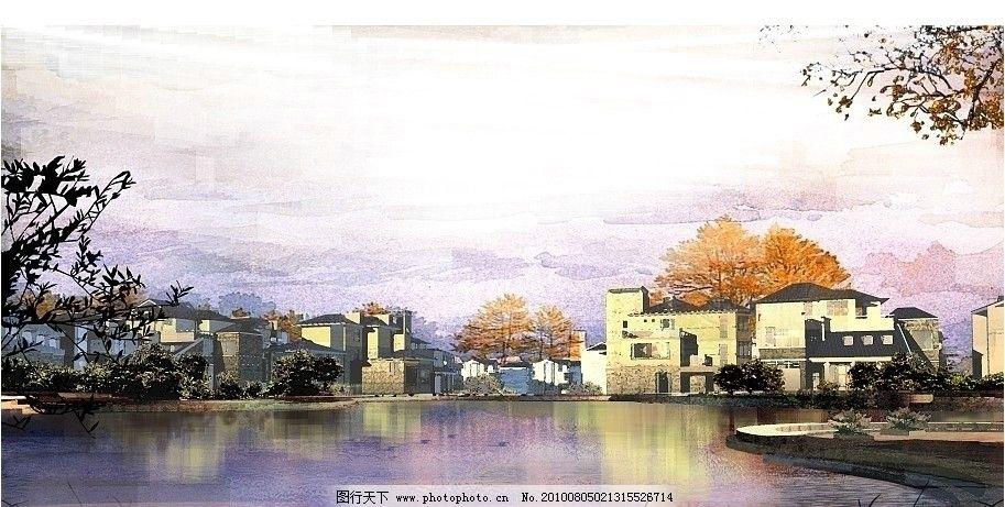 徽派建筑水彩画