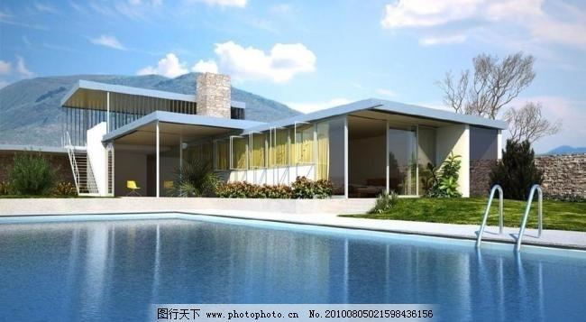 游泳池模型图片场景过程_其他_3D设计_图行天设计精品图片