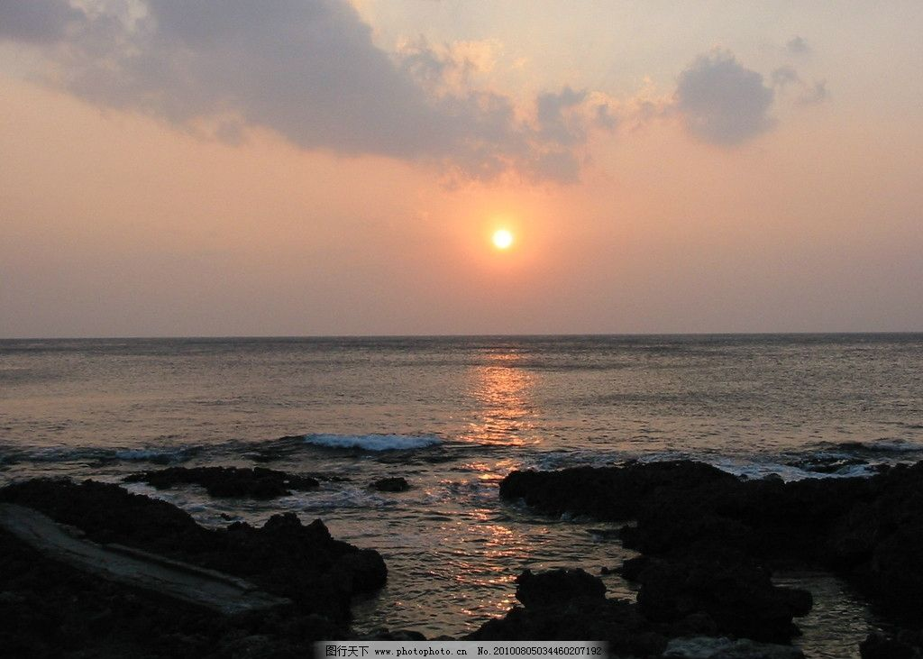 黄昏 垦丁 船帆石 山水风景 自然景观 摄影 180dpi jpg