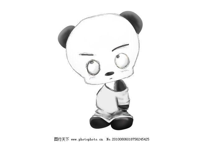 手绘熊猫免费下载 吉祥物熊猫手绘卡通画 图片素材 卡通动漫可爱图片