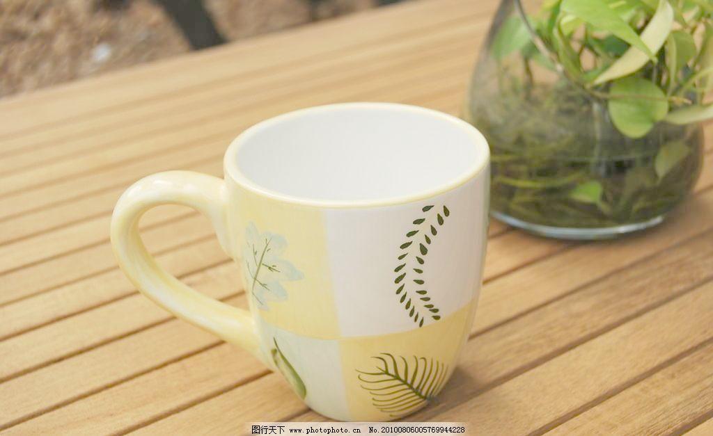 手绘树叶马克杯 艺术杯子 杯具 茶杯 咖啡杯 手柄杯 手绘杯 茶具 饮水
