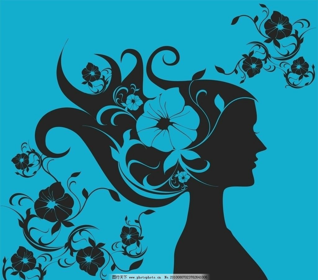 花与少女 花纹 侧面 剪影 蓝色 黑色 妇女女性 矢量人物 矢量