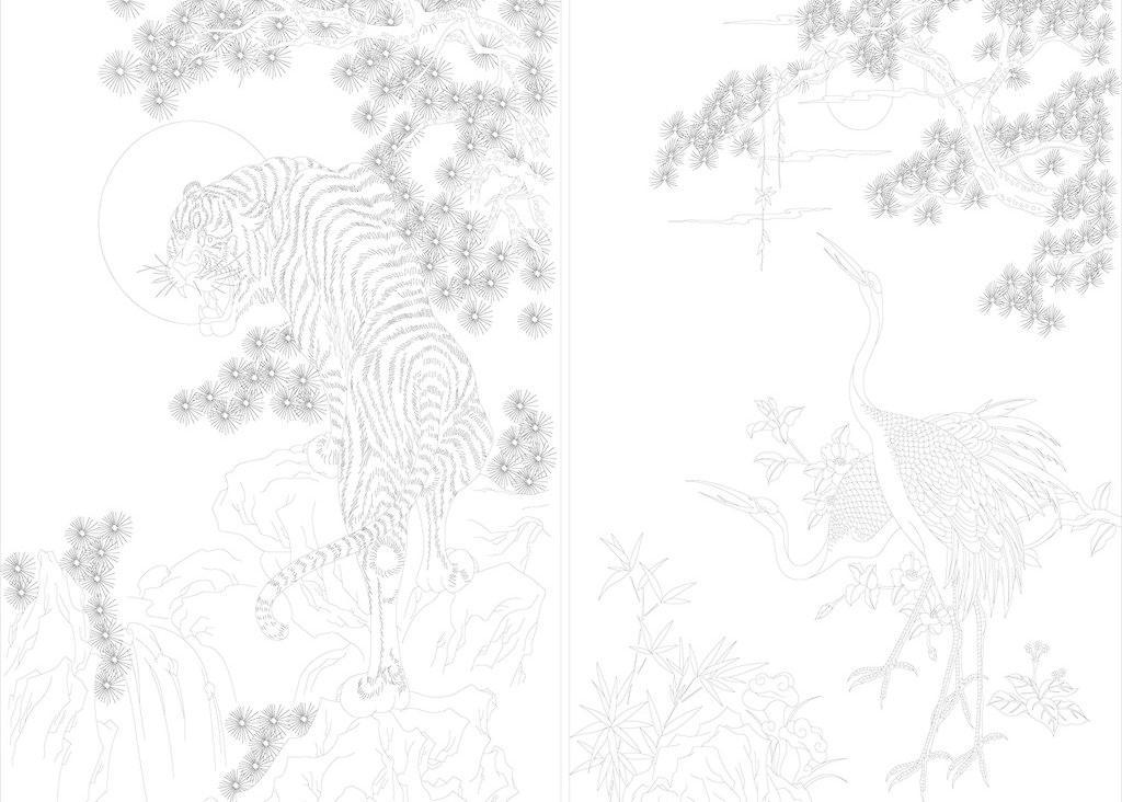 工笔 荷花线条 吉祥图腾 美术绘画 牡丹 山水风景 松鹤老虎矢量素材